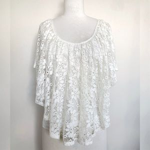 Tops - Floral Lace Peasant Top NEW